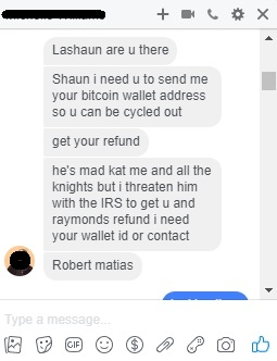 Robert Q Cash (Matias) attempting to steal my money