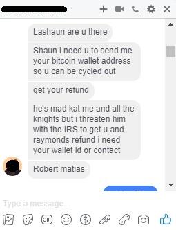 Robert Q Cash (Matias) attempting to steal my money